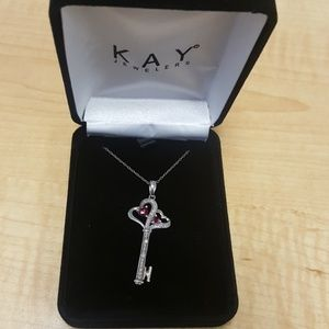 Ruby and Diamond Key Necklace